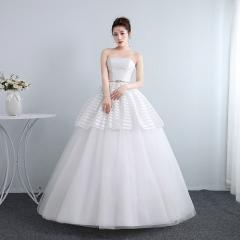 新娘结婚公主抹胸齐地韩式蕾丝冬季显瘦修身女W1011201808 图片色 均码