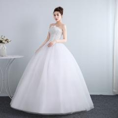 抹胸婚纱礼服冬季欧式新娘结婚公主齐地修身女W1011201809 图片色 均码