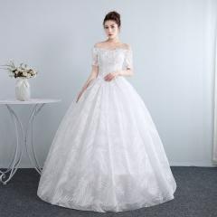 公主一字肩中袖齐地韩式蕾丝夏季显瘦修身女W10112001810 图片色 均码