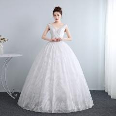 婚纱礼服新娘齐地修身双肩婚纱绑带调节婚纱W10112001812 图片色 均码