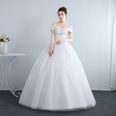 一字肩婚纱春夏季一字领新娘齐地婚纱修身女W10112001816 图片色 均码