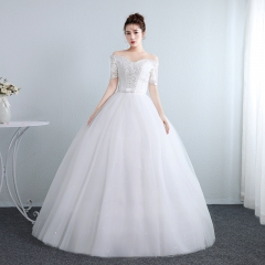 一字肩中袖婚纱韩式新娘结婚齐地显瘦修身女W10112001817 图片色 均码