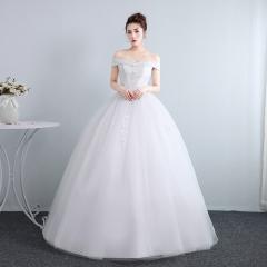 字肩齐地婚纱新娘结婚修身显瘦夏季韩式公主女W10112001818 图片色 均码