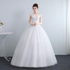 新娘结婚公主双肩圆领齐地韩式蕾丝显瘦修身女W10112001819 图片色 均码