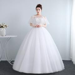 新娘结婚公主蕾丝圆领齐地气质显瘦修身女冬季W10112001821 图片色 均码