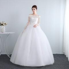 齐地婚纱新娘夏季长袖一字肩优雅蕾丝简约纱显瘦W10112001823 图片色 均码