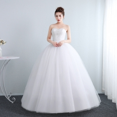 新娘结婚公主抹胸齐地韩式蕾丝冬季显瘦修身女W10112001824 图片色 均码