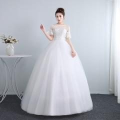 新娘结婚气质喇叭袖齐地韩式蕾丝冬季显瘦修身女W10112001827 图片色 均码