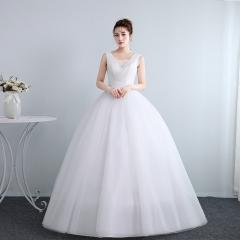 婚纱夏季新娘结婚双肩齐地韩式修身显瘦W10112001828 图片色 均码