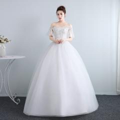 结婚公主一字肩小纱袖齐地韩式蕾丝显瘦修身女W10112001830 图片色 均码
