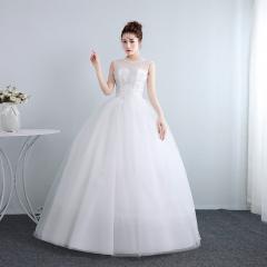 婚纱礼服新娘齐地修身双肩圆领婚纱绑带调节婚纱W10112001831 图片色 均码