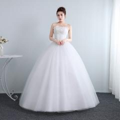 新娘结婚公主抹胸齐地韩式蕾丝冬季显瘦修身女W10112001825 图片色 均码