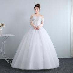 冬季韩式新娘结婚公主齐地简约修身女绑带款W10112001826 图片色 均码
