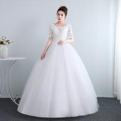 夏韩式中袖新娘结婚齐地简约显瘦公主W10112001829 图片色 均码