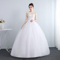 夏季抹胸蕾丝齐地新娘结婚修身显瘦韩式公主裙W10112001832 图片色 均码