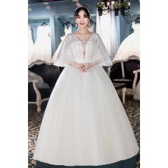 双肩显瘦新款新娘结婚嫁衣齐地婚纱绑带Z1010380084 图片色 均码
