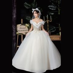 精美花纹一字肩新娘结婚嫁衣齐地婚纱绑带Z1010380086 图片色 均码