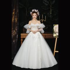 唯美一字肩新娘结婚嫁衣齐地婚纱绑带Z1010380087 图片色 均码