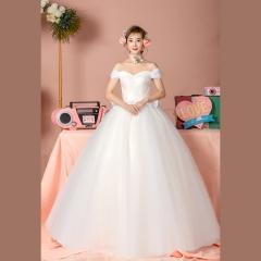 一字肩新款新娘结婚嫁衣齐地婚纱绑带Z1010380088 图片色 均码