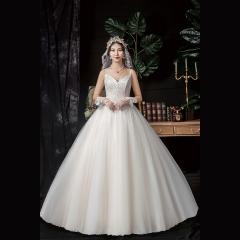 香槟色双肩带新娘结婚当天嫁衣齐地婚纱Z1010370139 图片色 均码