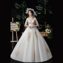 中袖香槟色新娘结婚当天嫁衣齐地婚纱Z1010370143 图片色 均码
