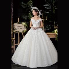 唯美一字肩新娘结婚当天嫁衣齐地婚纱Z1010370144 图片色 均码