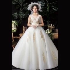 唯美双肩新娘结婚当天嫁衣齐地婚纱绑带Z1010370145 图片色 均码