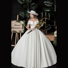 唯美一字肩新娘结婚当天嫁衣齐地婚纱Z1010370146 图片色 均码