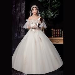 显瘦一字肩新娘结婚当天嫁衣齐地婚纱Z1010370147 图片色 均码