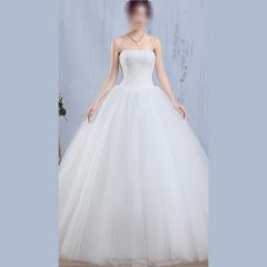 唯美显瘦影楼拍照礼服馆热销款齐地婚纱W1010140215-9 图片色 均码