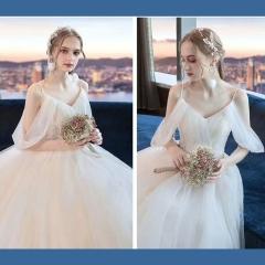唯美显瘦影楼拍照礼服馆热销款齐地婚纱W1010380215-14 如图 均码
