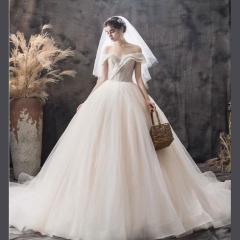 唯美显瘦影楼拍照礼服馆热销款齐地婚纱W1030380215-19 拖尾婚纱 均码