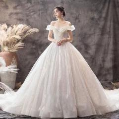 唯美显瘦影楼拍照礼服馆热销款齐地婚纱W1030380215-20 拖尾婚纱 均码
