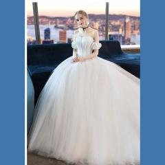 唯美显瘦影楼拍照礼服馆热销款齐地婚纱W1010380216-4 图片色 均码