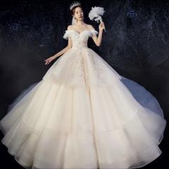 唯美显瘦影楼拍照礼服馆热销款齐地婚纱W1010380216-19 图片色 拖尾婚纱