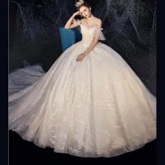 唯美显瘦影楼拍照礼服馆热销款拖尾婚纱W1030380216-27 原图 均码