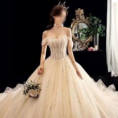 一字肩香槟色拖尾婚纱高贵气质款首选w1030380321-2 拖尾 均码