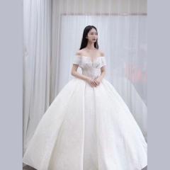 显瘦唯美新娘结婚当天嫁衣影楼拍照礼服馆热销款W1010260213-8 图片色 均码