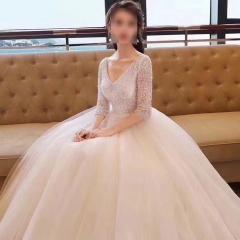 2020年最新款深V领七分袖婚纱z101026321-1 原图 均码