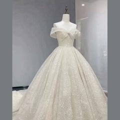 2020新娘一字肩拖尾婚纱W10302604410-1 图片色 均码