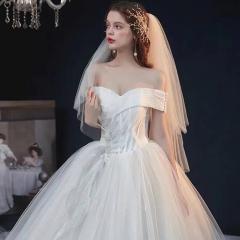 2020新款新娘一字肩显瘦拖尾婚纱W10302604410-2 图片色 均码