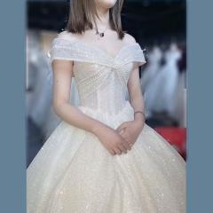 一字肩新款新娘结婚当天嫁衣齐地婚纱绑带款W101026050401 图片色 均码