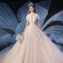 礼服馆新娘结婚当天嫁衣1.5米拖尾婚纱绑带款W101026050416 图片色 均码