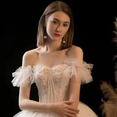 抹胸纱袖款新娘齐地款婚纱影楼拍照婚纱W1010260514-1 图片色 均码
