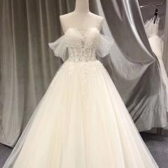 抹胸纱袖款新娘齐地款婚纱影楼拍照婚纱W1010260514-3 图片色 均码