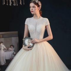 气质唯美珍珠包肩款新娘结婚仪式拖尾纱W1030260514-5 图片色 均码