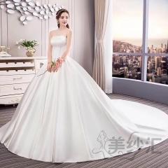 高贵缎面抹胸版新款新娘结婚当天嫁衣拖尾婚纱绑带款103018121302 图片色 均码