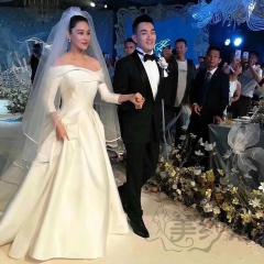 九分袖新娘结婚当天嫁衣张馨予同款拖尾婚纱103018121605 图片色 均码