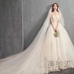 精美手工花纹图案新娘结婚当天嫁衣1.5米拖尾婚纱绑带款103018BKK 图片色 均码