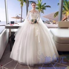 新娘结婚当天嫁衣齐地婚纱绑带纱袖1010187807 商品色 均码